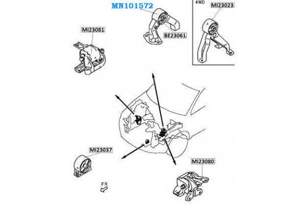 MITSUBISHI MN101572 GENUINE ENGINE MOUNTING LAYOUT